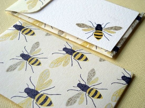 Bee+Mini+Cards+and+Envelopes++Set+of+10+by+PikakePress+on+Etsy,+$10.00
