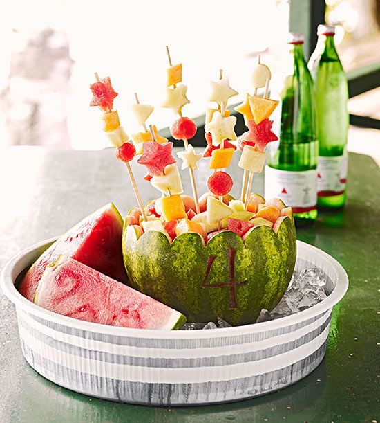 Table Setting: Watermelon Fruit Kabobs