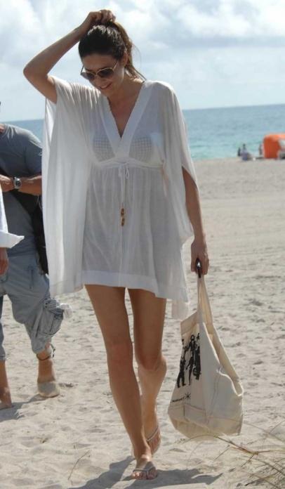 British TV presenter Lisa Snowdon seen on the beach in South Beach, Miami, Florida.