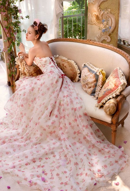 Floral print wedding gown from Atelier Aimee