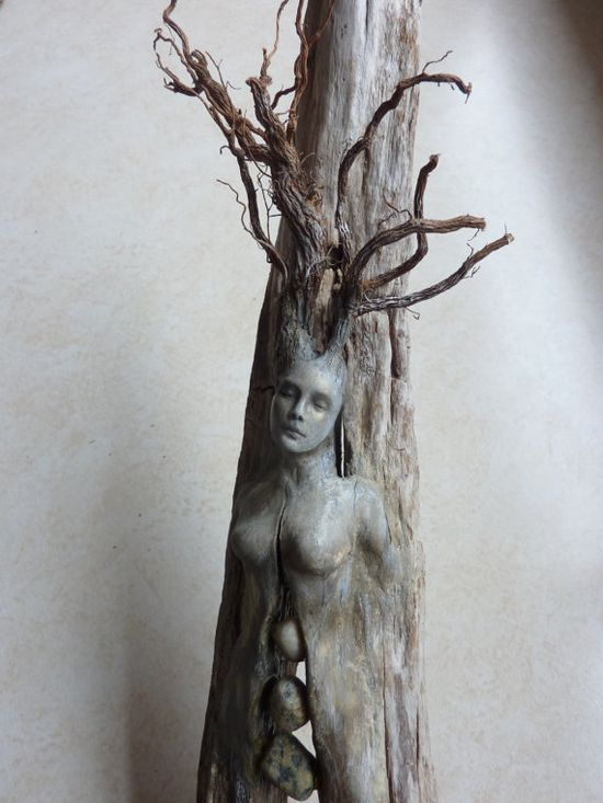 Spirit Tree Woman with Stones by Debbie Bernierm, via Etsy