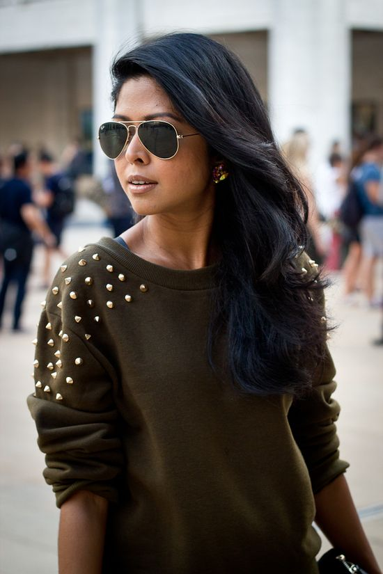 studded sweater. Love the color
