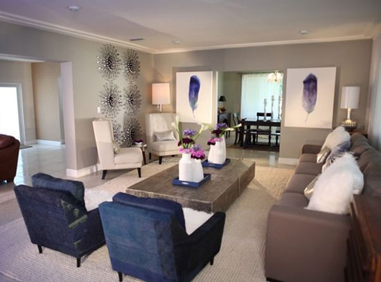 Blue living room designed by David Bromstad