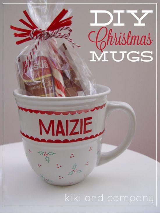 diy christmas mugs from