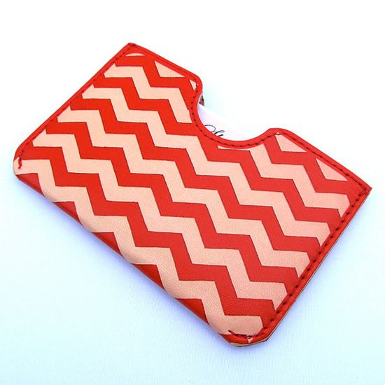 Leather card case  Red and peach Chevron ZigZag by tovicorrie, $32.00