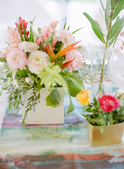 tropical palette of blooms and watercolor inspired linens making up these #centerpieces photography by jillianmitchell.net, Florals by www.sayulitalife....  Read more - www.stylemepretty...