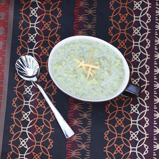 broccoli, cannellini bean and cheddar soup