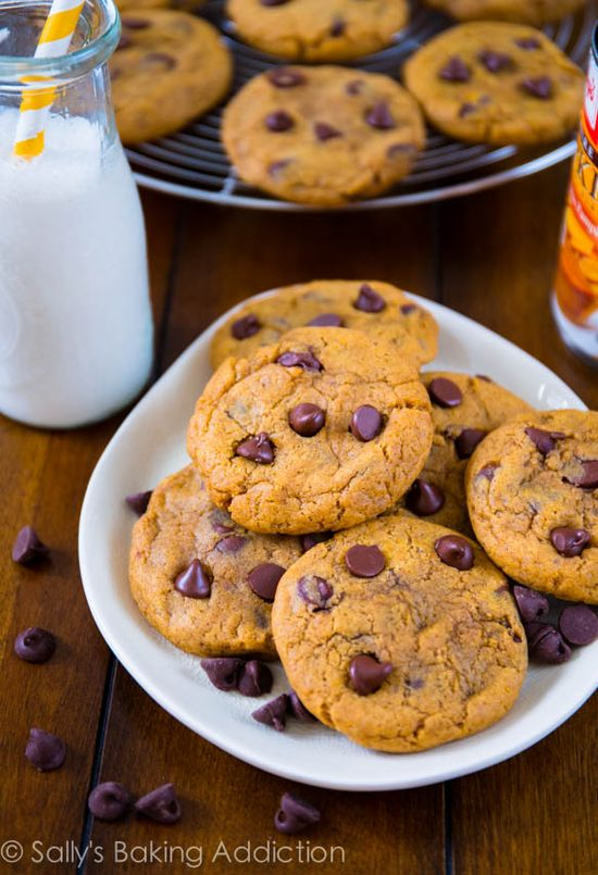 Pumpkin Chocolate Chip Cookies from @Sally McWilliam McWilliam [Sally's Baking Addiction] #pumpkin #cookies
