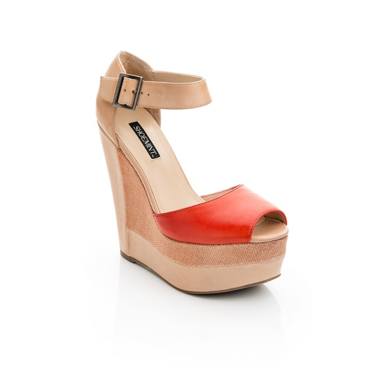 Red strapped wedge