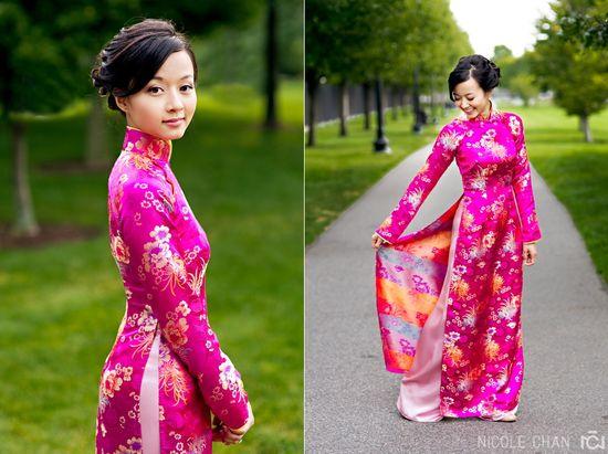 Vietnamese #wedding #aodai using a thicker #Chinese #brocade