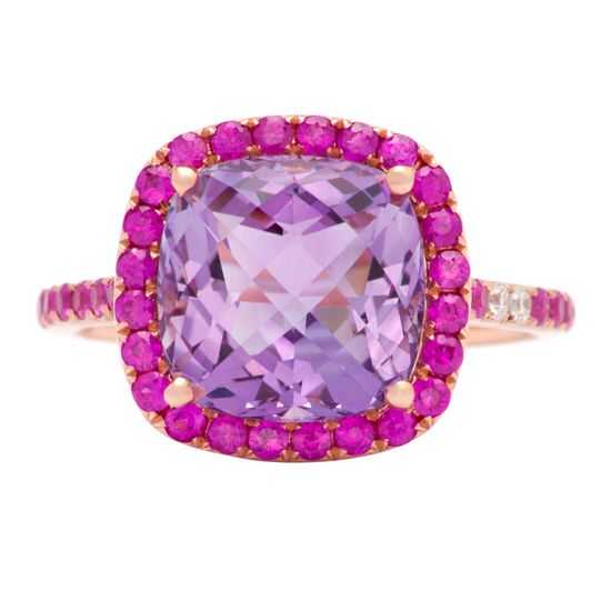 Pink sapphire, amethyst and diamond ring
