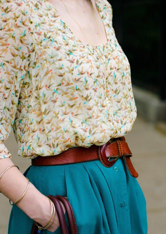 Bird print blouse, turquoise skirt and brown belt via Daydream Delightful.