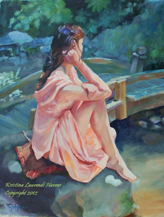 Original Art Oil Painting Woman in Peach Gazing at by Krystyna81, $849.00