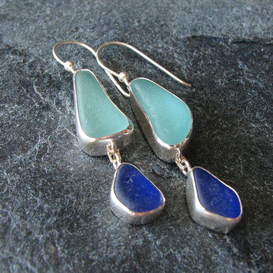 Sea Glass Jewelry Earrings Aqua and Cobalt  Beach Glass Earrings. $150.00, via Etsy.