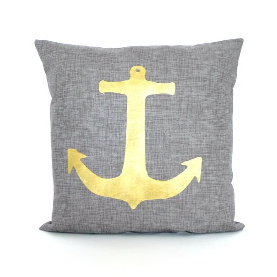 Gold Anchor pillow FREE SHIPPING by KatieScarlettCo on Etsy, $24.50
