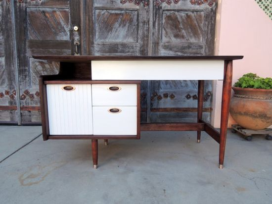 Designer Style Mid Century Modern 4 Drawer Desk Los Angeles by HouseCandyLA on Etsy, $799.00