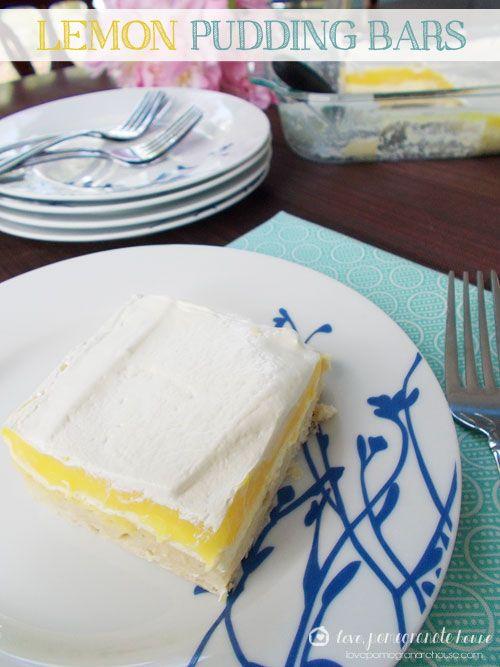 Refreshing Lemon Pudding Bars via Love, Pomegranate House
