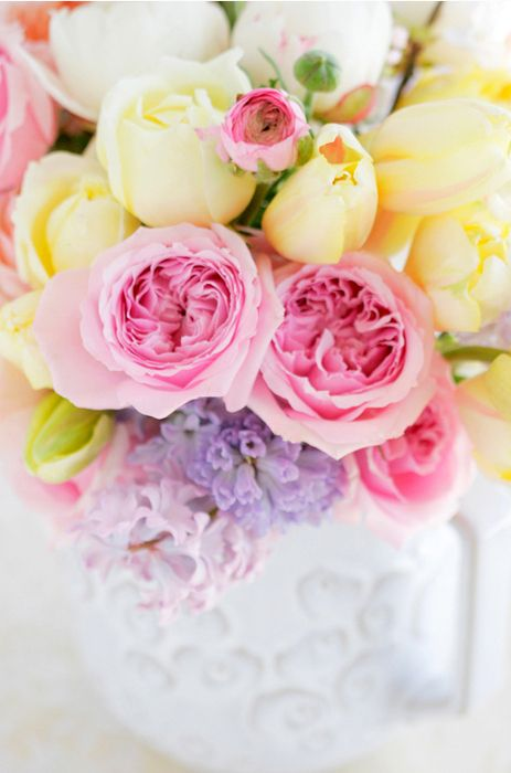 Radiantly gorgeous springtime blooms. #flowers #wedding #pink #yellow #arranged #beautiful