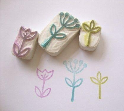 Little Garden Hand Carved Rubber Stamp Set