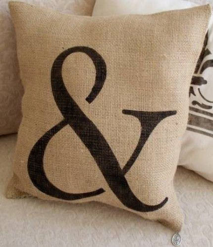 Love burlap pillows!...new bench