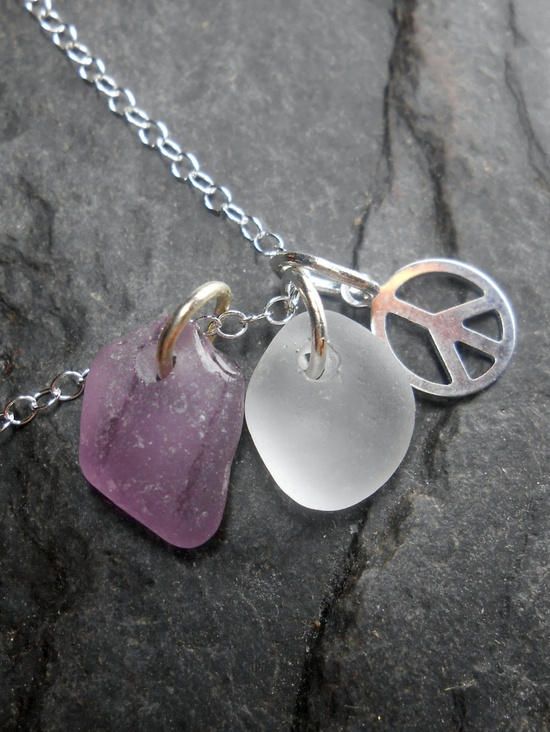 Sea Glass Jewelry - Beach Glass Cluster Necklace - Power To The Purple.