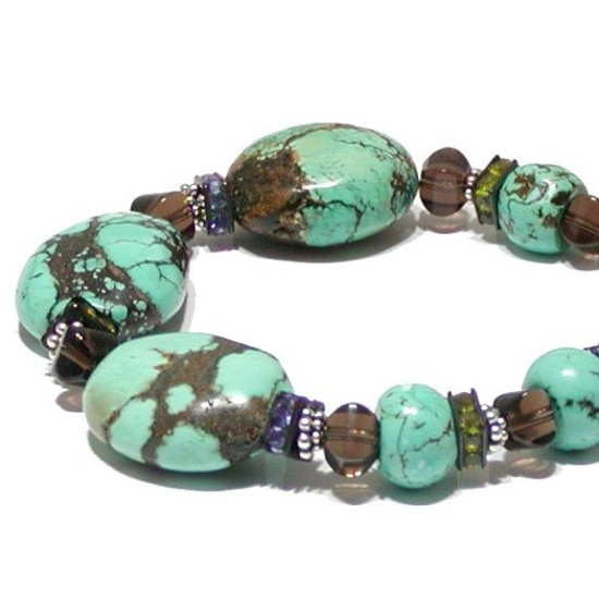 Chunky Turquoise Bracelet with Sterling Silver by jQjewelrydesigns, $72.00