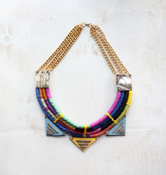 Multi color rope and leather necklace - Neon Rainbow. $250.00, via Etsy.
