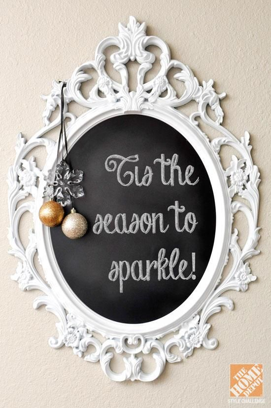 Welcome your guests with holiday wishes on a framed chalkboard!