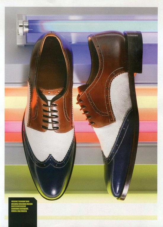 Esquire UK - March 2012  Bally's New Arien Scribe shoes in master nature and azure blue from Spring/Summer 2012 collection