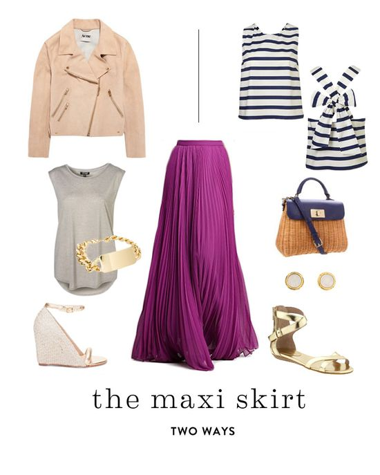 two ways to wear a maxi skirt