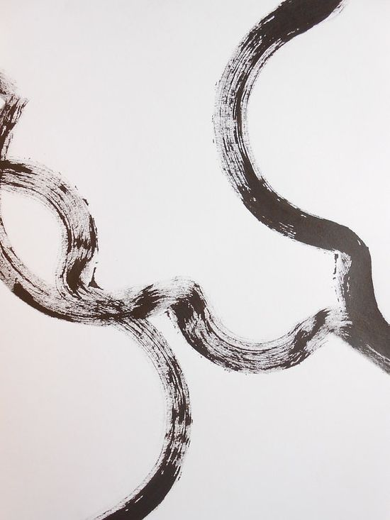 Original Minimal Purist Paint Brush Ink Painting by Manjuzaka