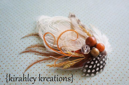 FALL FANCY -- Burnt Orange & Ivory Peacock Feather Hair Clip Wedding Fascinator w/ Berries, Wheat, Guinea, Duck Feathers