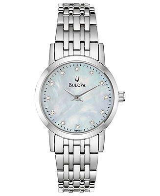 Bulova Watch, Women's Diamond Accent Stainless Steel Bracelet 27mm 96P135 - Women's Watches - Jewelry & Watches - Macy's