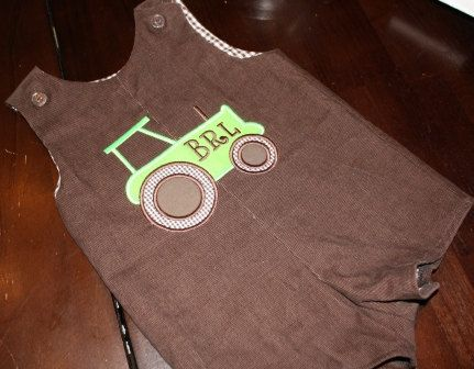Boys Tractor shortall or longall in chocolate corduroy. $38.00, via Etsy.