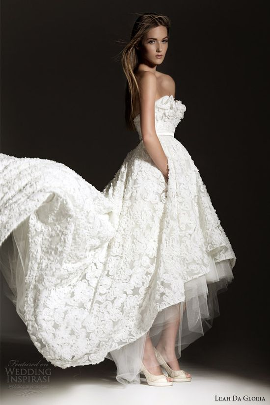 leah da gloria 2013 bridal strapless wedding dress high low