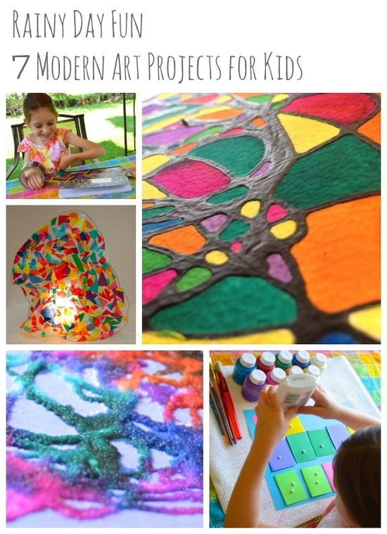 Rainy Day Fun -- 7 Modern Art Projects for Kids  - Pinned by @PediaStaff – Please Visit ht.ly/63sNtfor all our pediatric therapy pins