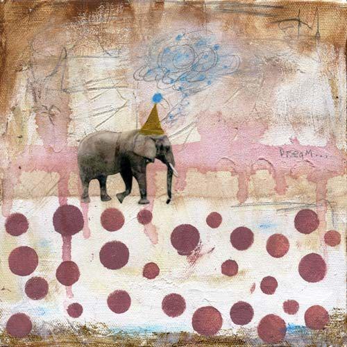 Angela Petsis - #art #mixedmedia #elephant #circles