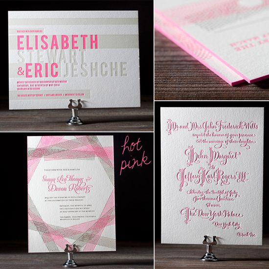 #Neon #pink letterpressed wedding invitations