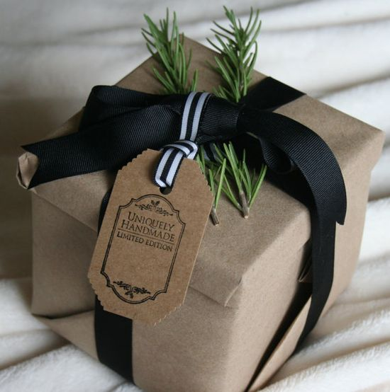 Gift wrapping for Christmas French Stripe Black and White Gift Tags