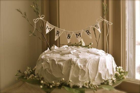 burlap cake topper