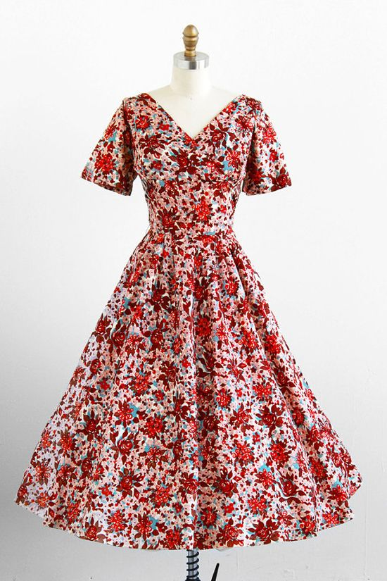 Vintage 1950s rusty floral dress