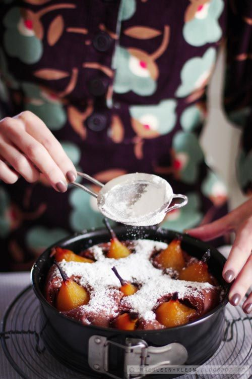 chocolate cake w/ spiced pears
