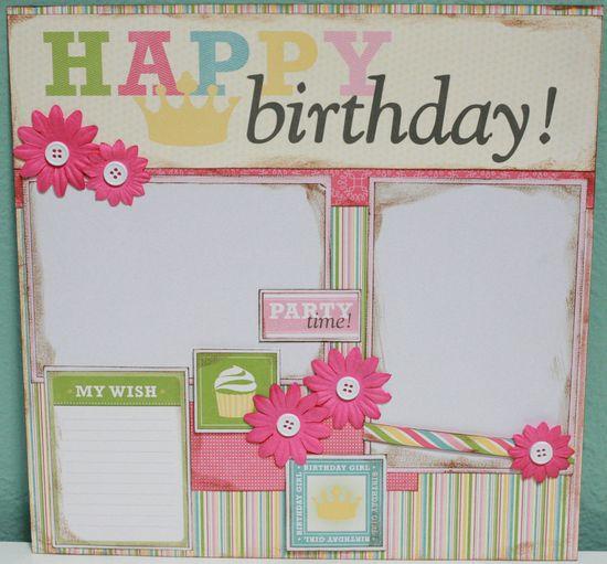 Happy Birthday Girl 12x12 Premade Scrapbook Layout. $13.99, via Etsy.