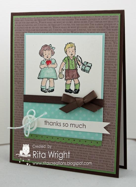 Rita's Creations.  Stampin' Up! Greeting Card Kids teacher thank you.