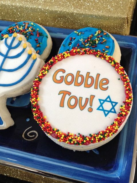 How fun are these cookies for Thanksgivukkah! See more party ideas on CatchMyParty.com! #hanukkah #thanksgiving #thanksgivukkah #partyideas #cookies