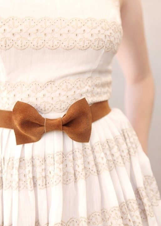 sand bow belt (accessories, belt, clothing, lace, bow, brown, cream, white)
