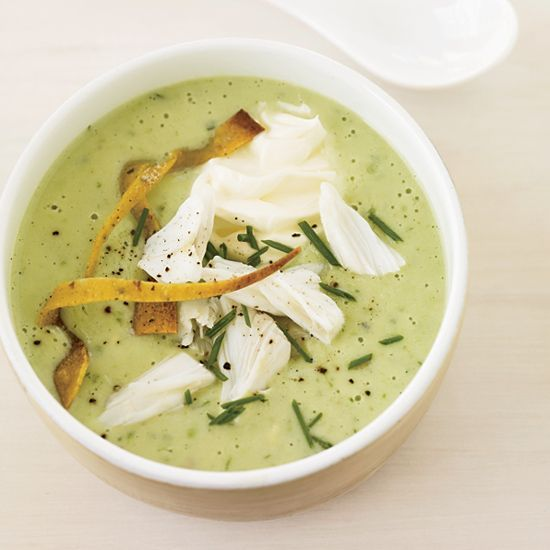 Chilled Avocado Soup Topped with Crab