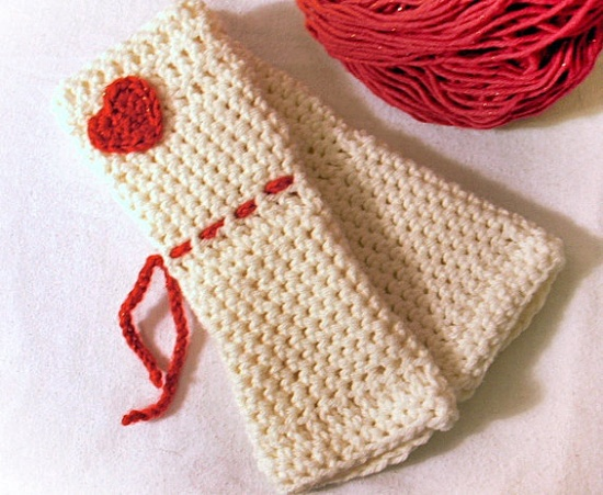 Romantic Valentine Crochet Fingerless Armwarmer by JMcnallyDesigns