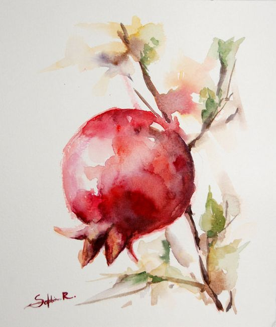 Original Watercolor Painting. Red Pomegranate Branch.