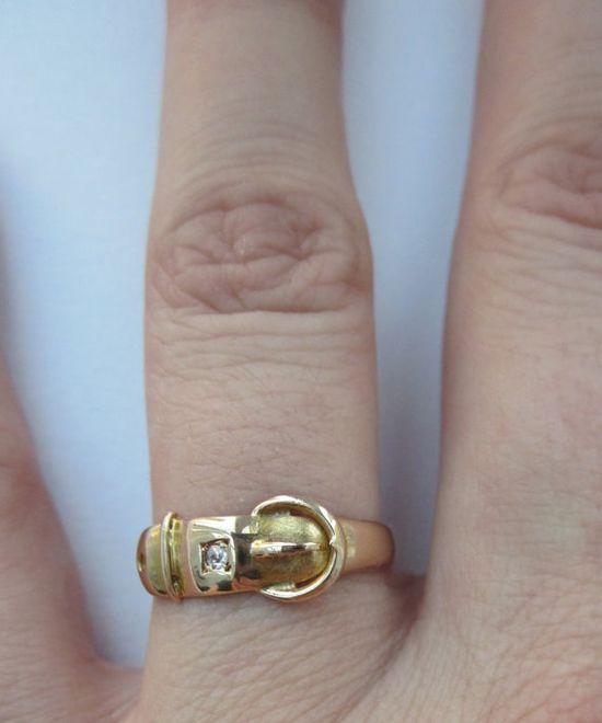 diamond buckle ring - Victorian